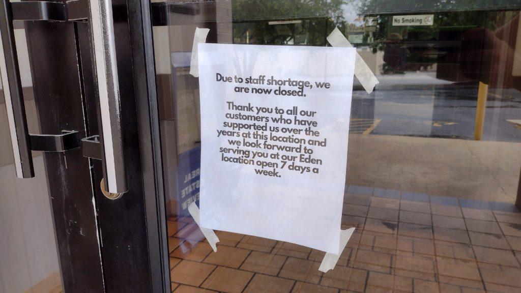 Sign on the Sirloin House door